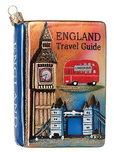 England Travel Guide Polish Mouth Blown Glass Christmas Ornament by Pinnacle Peak Trading Company