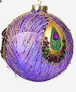 4″ Peacock Glass Ball Ornament by One Hundred 80 Degrees (purple)