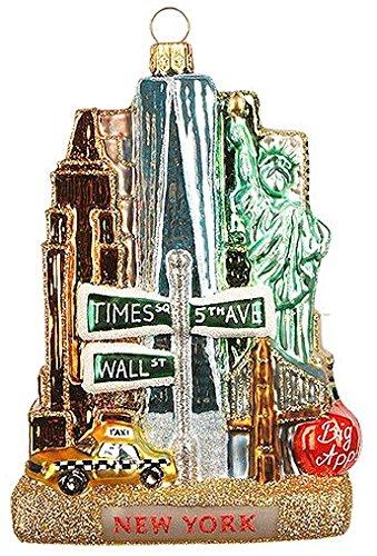 New York City Landscape Polish Glass Christmas Tree Ornament United States NYC