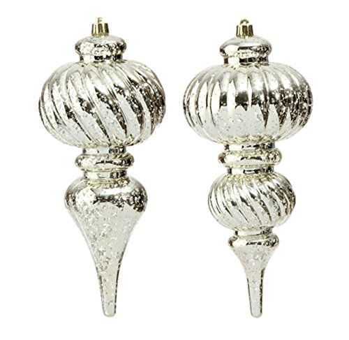 RAZ 10″ ANTIQUED SILVER CHRISTMAS FINIAL ORNAMENT – Set of Two