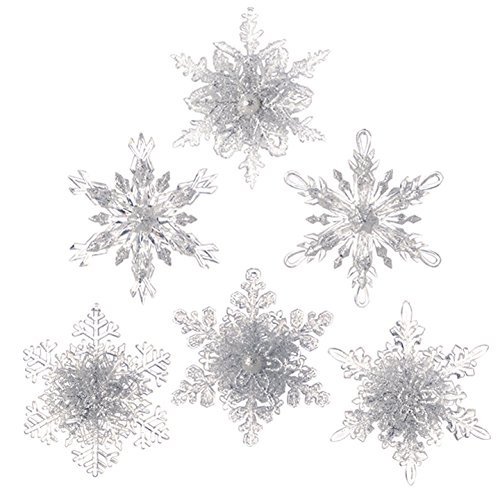 RAZ Imports – Set of 6 – 4.5″ Glittered Snowflake Ornaments