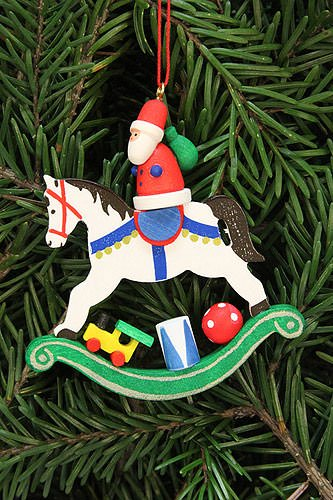 Tree ornaments Tree ornament Santa Claus on rocking horse – 6,8×7,1cm / 2.7×2.8inch – Christian Ulbricht