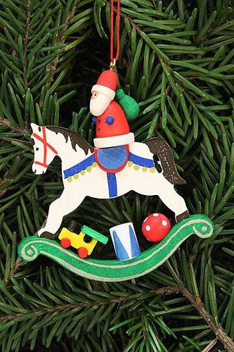 Tree ornaments Tree ornament Santa Claus on rocking horse – 6,8×7,1cm / 2.7×2.8inch – Christian Ulbricht