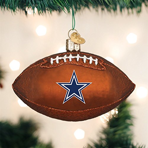 Old World Christmas Dallas Cowboys Football Glass Blown Christmas Ornament