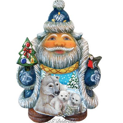 G. Debrekht Illustrated Santa with Polar Bear and Cubs