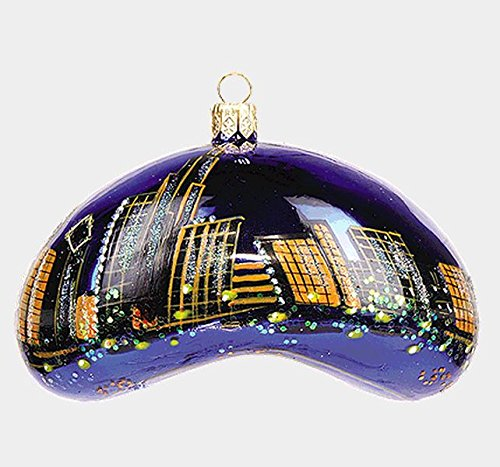 Chicago Bean During the Night Polish Blown Glass Christmas Ornament Decoration