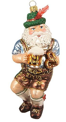 Dancing German Bavarian Santa Claus Polish Glass Christmas Tree Ornament Poland