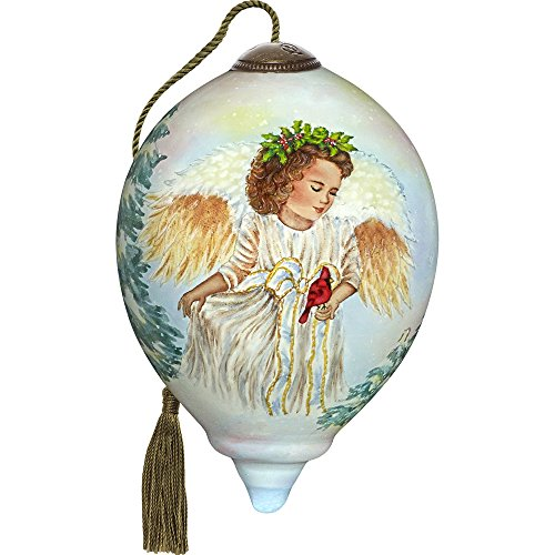 Precious Moments, Ne'Qwa Art 7171127 Hand Painted Blown Glass Petite Princess Shaped Landscapeful Jolly Angel Ornament, 3-inches