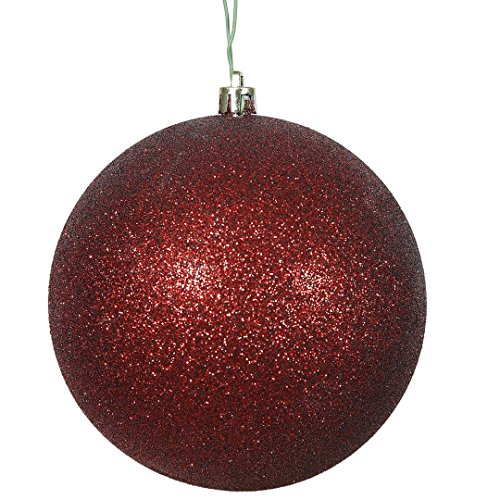 Vickerman N591505DG Glitter Ball Ornaments with Shatterproof UV Resistant, Pre-drilled cap Secured & green floral Wire in 4 per bag, 6″, Burgundy
