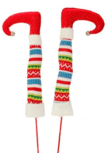 RAZ Imports – Tinsle Tangle – 17″ Christmas Elf Legs – Red Feet