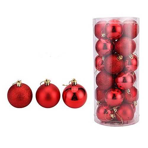 Christmas Ball Ornaments Exquisite Colorful Balls Decorations Baubles Party Pendant Pack 60mm/24pcs (Red, 1.57″/24ct)