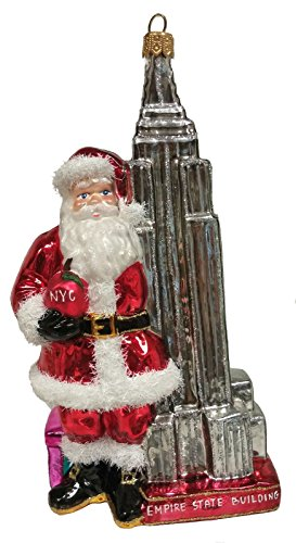 Santa with Empire State Building New York Polish Glass Christmas Ornament NYC