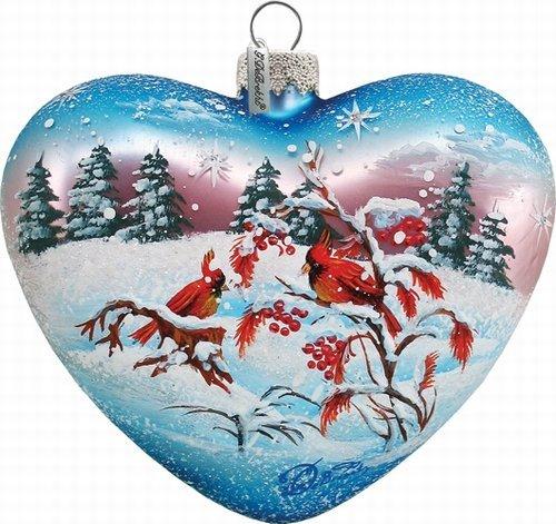 G. Debrekht 3-1/2 Inch Winter Birds Glass Heart Ornament