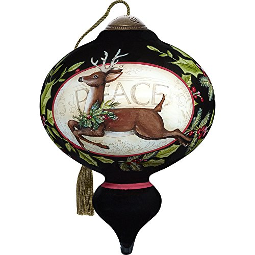 Precious Moments, Ne'Qwa Art 7171158 Hand Painted Blown Glass Standard Marquis Shaped Seasons Of Peace Deer and Cardinal Ornament, 5.5-inches