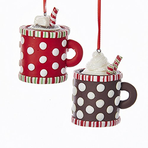 Kurt Adler 3″ Claydough Hot Cocoa Cup Ornament 2/asstd