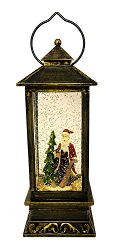 LED Christmas Gift Copper Antique Style Lantern: Light-Up Swirl Dome Snow Globe With Liquid Glitter (Santa Claus FD 1011)