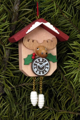 Tree ornaments Tree ornament Cuckoo Clock with Moose – 6,4 x 6,5cm / 2.5 x 2.5inch – Christian Ulbricht