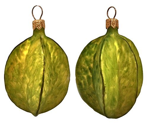 Carambola Star Fruit Polish Blown Glass Christmas Ornament Set of 2 Decorations
