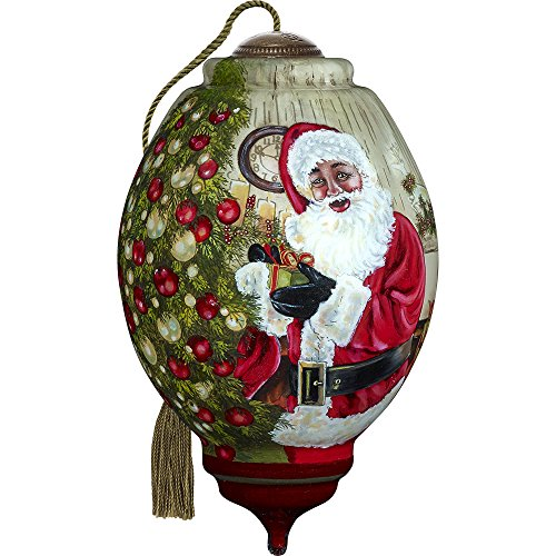 Precious Moments, Ne'Qwa Art 7171122 Hand Painted Blown Glass Standard Trillion Shaped Christmas Time is Here Ornament, 5.5-inches