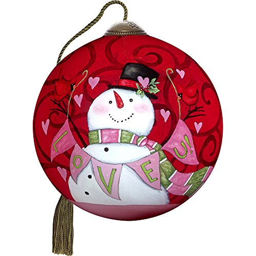 Precious Moments, Ne'Qwa Art 7171148 Hand Painted Blown Glass Petite Round Shaped Love U Smiling Snowman Ornament, 2.5-inches