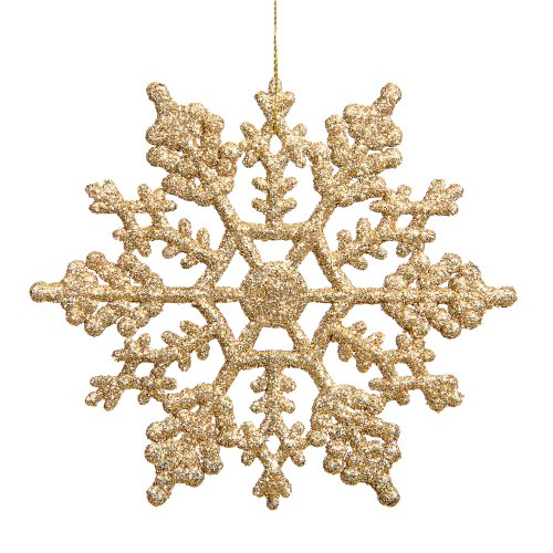 Vickerman Glitter Snowflake Christmas Ornaments with 12 per PVC Box, 8″, Gold