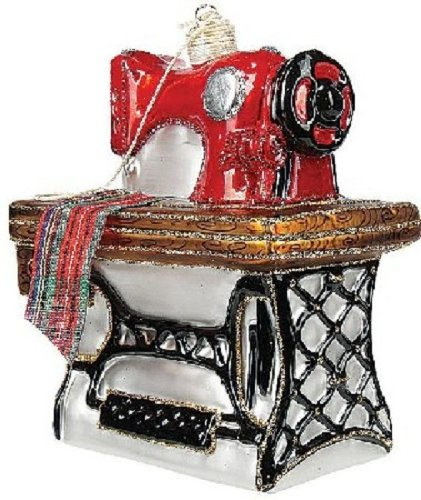 Stitching Sewing Machine Polish Glass Christmas Ornament Made Poland Decoration