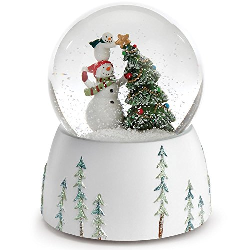 5.75″ Snowmen Topping the Christmas Tree with a Star Musical Snow Globe