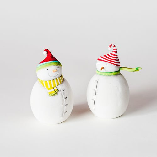 Mistle Toes Colorful Snowman Ornaments Set of 2 Asst, Resin, 4.25″