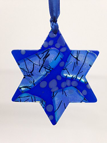 FRESH FROM THE KILN! Celebration Glass Ornament: Star Of David – Ships in Gift Box – Happy Hanukkah