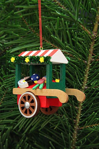 Tree ornament market cart with toys – 7,1cm / 2.8inch