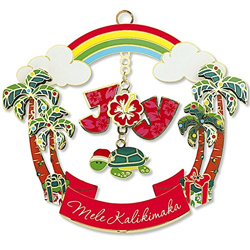 Hawaiian Joyful Honu Turtle Metal Die Cut Christmas Ornament