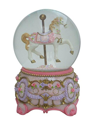 Lightahead Polyresin Christmas Musical Carousel Horse Snow Globe Water ball (Pink)