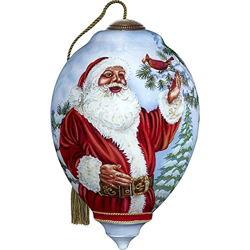 Precious Moments, Ne'Qwa Art 7171123 Hand Painted Blown Glass Standard Princess Shaped Santa's Feathered Hat Ornament, 5.5-inches