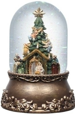 Musical Glitterdome Nativity with Tree