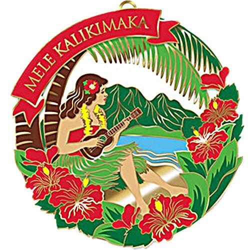 HAWAIIAN VINTAGE HULA GIRL DANCER CHRISTMAS METAL GIFT ORNAMENT (W/ FREE KEY CHAIN)