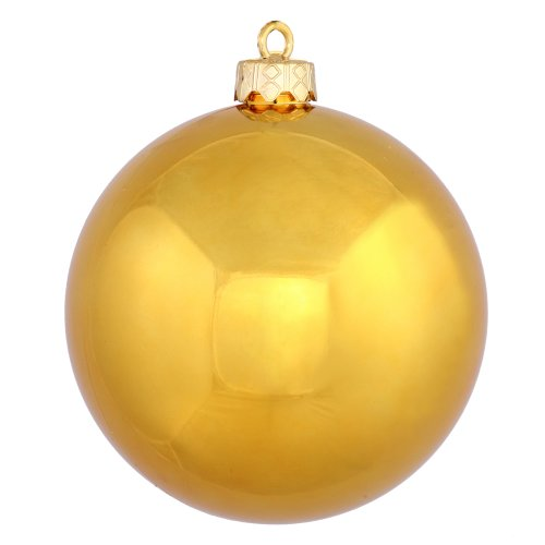 Vickerman Shiny Finish Seamless Shatterproof Christmas Ball Ornament, UV Resistant with Drilled Cap, 8″, Antique Gold