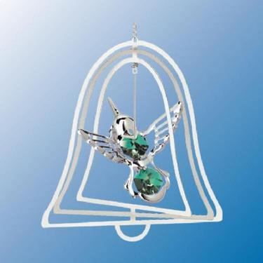 Chrome Plated Hummingbird Bell Ornament – Green – Swarovski Crystal