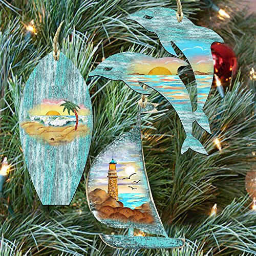 G.DeBrekht Coastal Tree Keepsake Wooden Ornaments – Surfboard Sailboat Dolphins Set of 3 8100048S3
