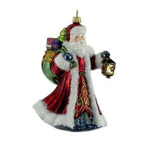 Kurt Adler 7.48″ Polonaise Glass Sana with Bag and Lantern Ornament