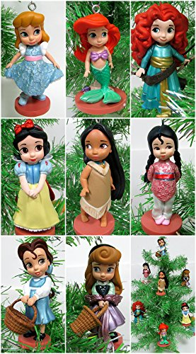 Disney Baby Animator Princess 8 Piece Christmas Tree Ornament Set Featuring Pocahontas, Cinderella, Snow White, Aurora, Mulan, Belle, Merida, Ariel, Snow White