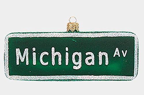 Michigan Avenue Street Sign Polish Glass Christmas Ornament Chicago Decoration