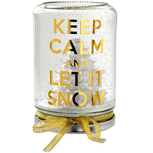 WeRChristmas Keep Calm And Let It Snow Snow Globe Christmas Decoration, 13 Cm – Gold