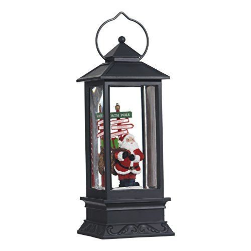 Lighted Snow Globe Lantern: 11 Inch, Black Holiday Water Lantern by RAZ Imports (North Pole Santa)
