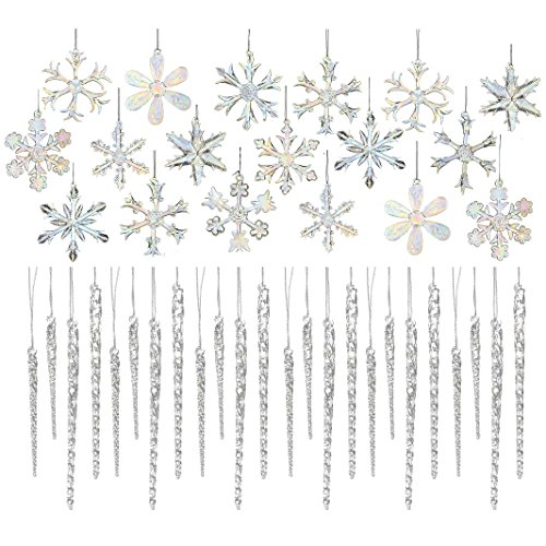 Kurt Adler Glass 2-inch Iridescent Snowflake Ornaments 18-piece And Clear Glass Icicle Ornaments 24-piece (12 X 3.5-inch & 12 X 5.5-inch)