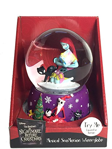 Sally and Black Cat Musical SnoMotion Waterglobe – Nightmare Before Christmas Snowglobe