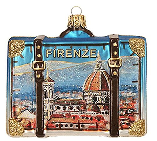 Florence Italy Travel Suitcase Polish Glass Christmas Tree Ornament Decoration