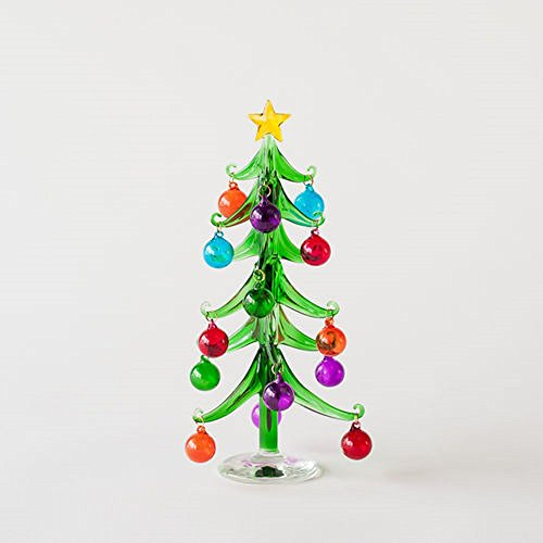 One Hundred 80 Degree Decorated Christmas Tree, Medium, Glass, 9.5″