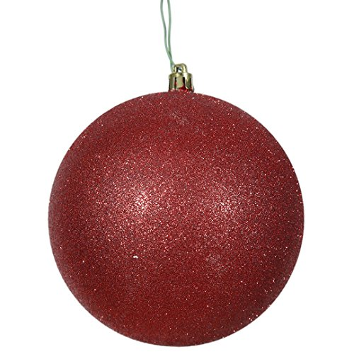 Vickerman N592003DG Glitter Ball Ornament with Shatterproof & UV Resistant, Pre-drilled cap Secured & 6″ of Green Floral Wire, 8″, Red