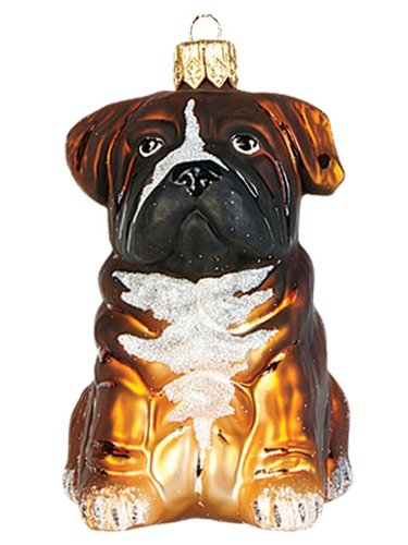 Boxer Puppy Dog Polish Mouth Blown Glass Christmas Ornament Tree Decoration
