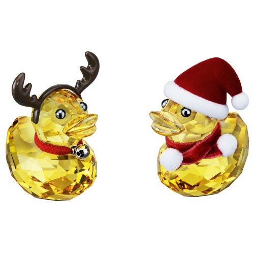 Swarovski Ducks Costumed As Santa & Reindeer Crystal Ornament